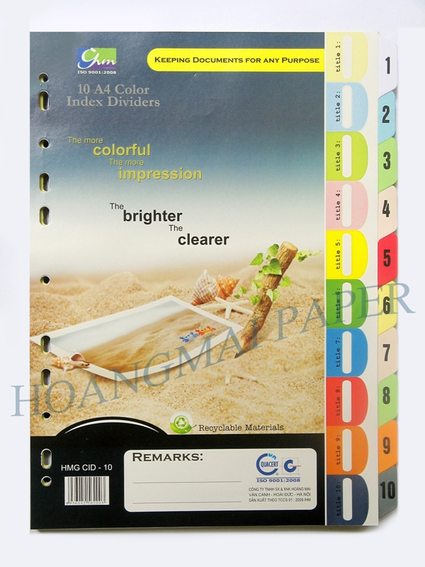 1-10 A4 Extra Thick Index Dividers